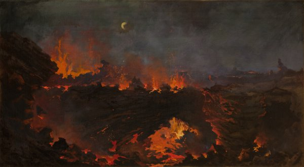 Jules Tavernier, New Lake—Volcano of Kilauea, 1887, oil on canvas, 20 x 36 inches.