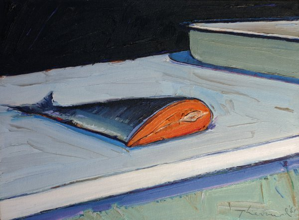 Wayne Thiebaud, Half Salmon, 1961, oil on canvas, 16 ¼ x 22 inches