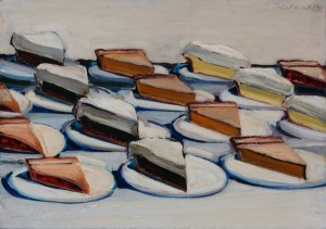 Wayne Thiebaud, Pies, 1961, oil on canvas, 22 x 28 inches;