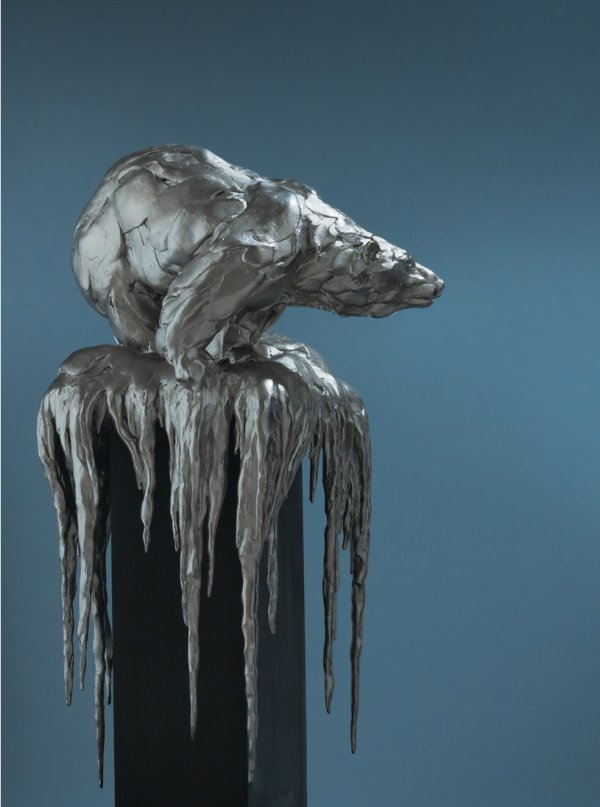 Bart Walter, Climate Change (Polar Bear), 2010, bronze with silver/nickel patina, 9 x 8 x 15.5 inches, edition of 10;