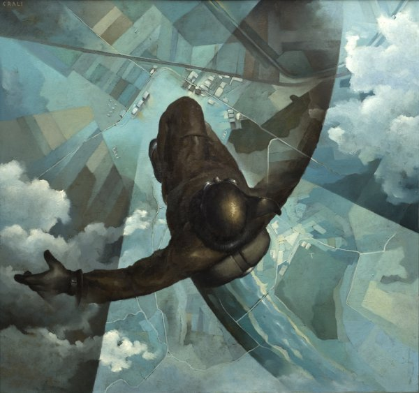 Tullio Crali, Before the Parachute Opens (Prima che si apra il paracadute), 1939, oil on panel, 141 x 151 cm;