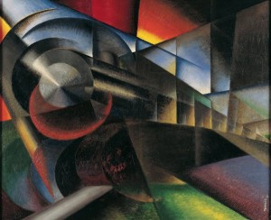 Ivo Pannaggi, Speeding Train (Treno in corsa), 1922, oil on canvas, 100 x 120 cm