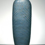 Jun Kaneko, Untitled, Dango, 2002, hand built glazed ceramics, 85 x 33 x 15.5 inches.