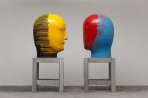 Jun Kaneko, Untitled, Heads, 2011, cast bronze and steel, 74 x 33.25 x 29 inches;