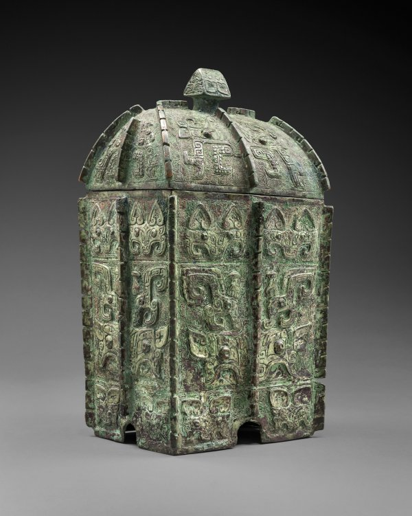 Ritual bronze fermented-beverages vessel fangyi, Shang dynasty, Yinxu period, circa 13th–11th centuries B.C.;