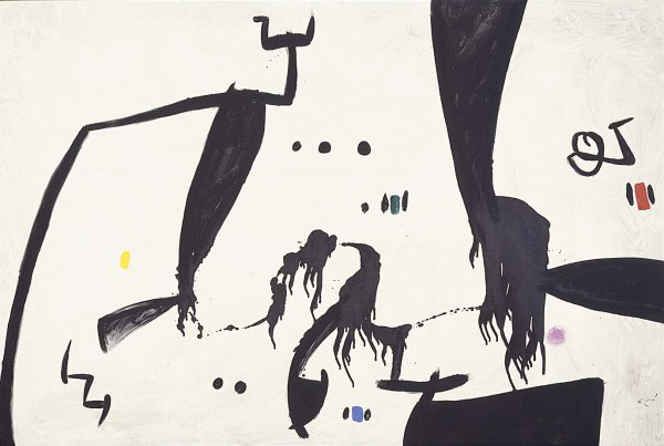 Joan Miro, Figures, Birds, Constellations, 1976, oil on canvas;