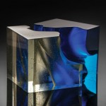 John Wood, Blue Cut Cube, 2014, 10 x 15 x 10 inches.;