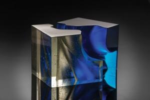 John Wood, Blue Cut Cube, 2014, 10 x 15 x 10 inches.;