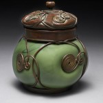 Louis Comfort Tiffany, bronze and blown-glass inkwell box, circa 1900–10;
