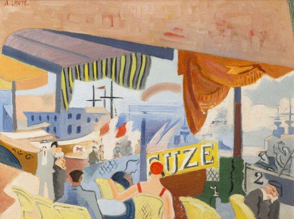 André Lhote, Café au bord de la mer, circa 1921, oil on canvas, 20 x 25 ½ inches,