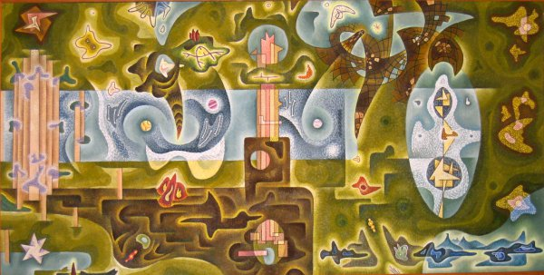 Gordon Onslow Ford, The Luminous Land, 1943, oil on canvas, 39 ¼ x 78 ½ inches.