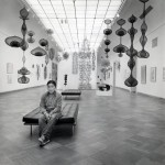 "Ruth Asawa at her exhibition ""A Retrospective View"" at the San Francisco Museum of Art, 1973."