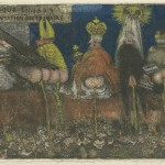 James Ensor, Doctrinal Nourishment, 1889/1895, Etching printed with tone and hand-colored with white gouache and with red, yellow, and blue chalk and watercolor.