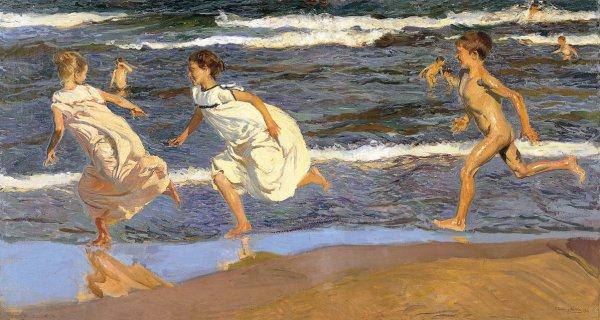 Joaquín Sorolla y Bastida, Running Along the Beach, 1908, oil on canvas.