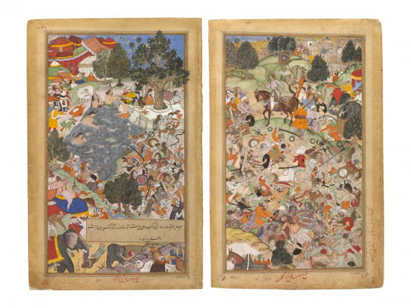 Battle at Thaneshwar, bifolio from the Akbarnama, India, Mughal dynasty, 1590–95, opaque watercolor, gold, and ink on paper;