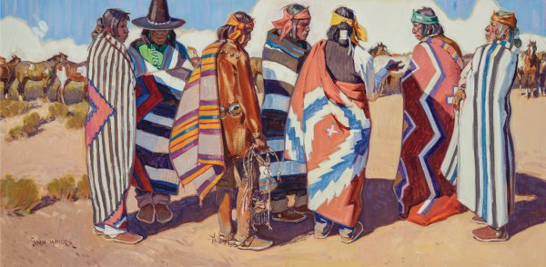 John Moyers, High Mesa Horse Traders, 2014, oil on canvas, 30 x 60 inches.