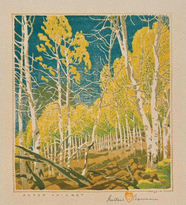 Gustave Baumann, Aspens, color woodblock print.