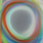 Dan Christensen, Untitled, 1988, sprayed acrylic on Plexiglas, 12 x 12 inches;
