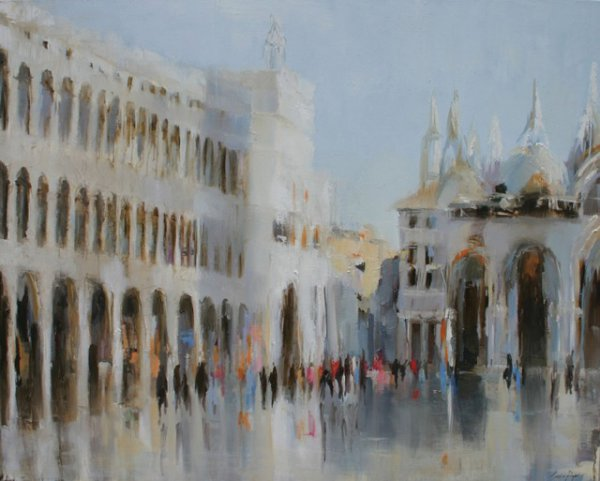 Susie Pryor, Afternoon in Venice, oil on canvas, 48 x 60 inches;