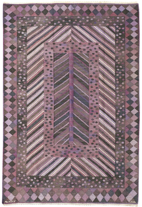 Marianne Richter, Granen flatweave carpet, 1949, Marta Maas-Fjetterstrom AB, hand-woven wool, 64 x 95 inches.