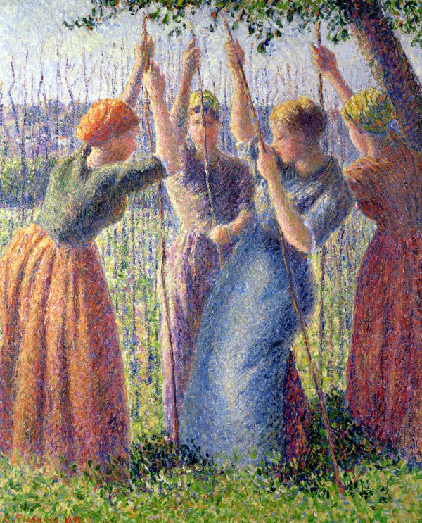 Camille Pissarro, Peasant Women Planting Poles in the Ground, 1891, oil on canvas;