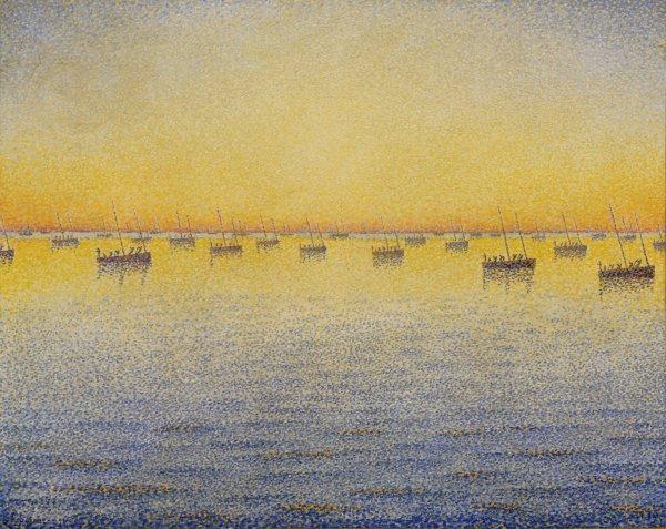 Paul Signac, Setting Sun. Sardine Fishing. Adagio. Opus 221 from the series The Sea, The Boats, Concarneau, 1891, oil on canvas.