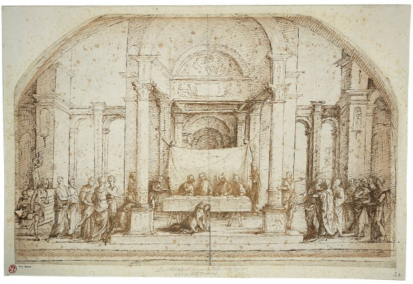 Lorenzo Costa, Christ in the House of Simon the Pharisee, pen and brown ink on paper, 29.6 x 45.3 cm;