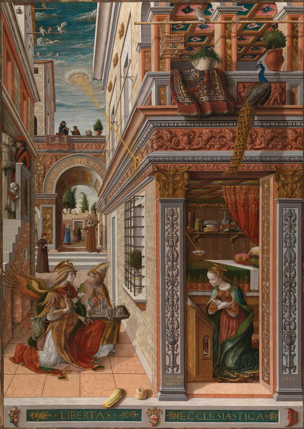 spread: Carlo Crivelli, The Annunciation, with Saint Emidius, 1486, egg and oil on canvas, 207 x 146.7 cm.