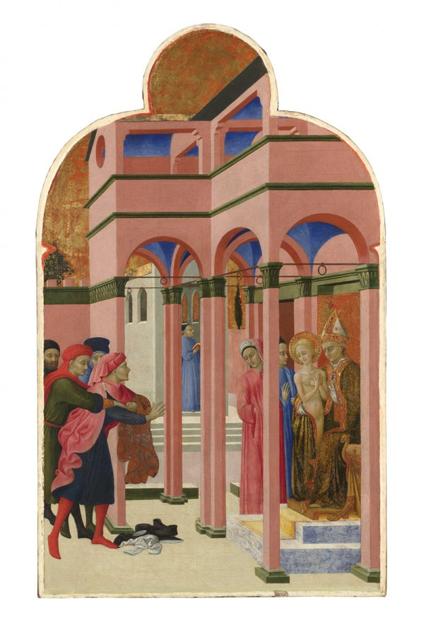Sassetta, Saint Francis Renounces His Earthly Father, circa 1440, egg tempera on poplar, 87.5 x 52.4 cm.