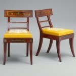 Side chair, Philadelphia, 1810–20, mahogany with mahogany and rosewood veneers and ebony inlay, brass, 33 1⁄4 x 19 x 23 1/8 inches.