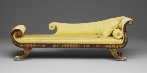 Attributed to John and Hugh Finlay, Grecian couch, 1810–30, walnut and cherry; paint; gold leaf, 31 7/8 x 90 1⁄4 x 24 1/8 inches.