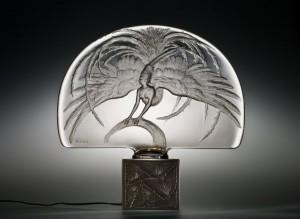 René Lalique, Illuminated Surtout de table, Oiseau de Feu (Firebird), R. Lalique et Cie., circa 1922, mold-pressed, acid-etched intaglio design, 42.2 cm.