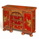 Houghton Hall red lacquer bachelor's chest, circa 1705.
