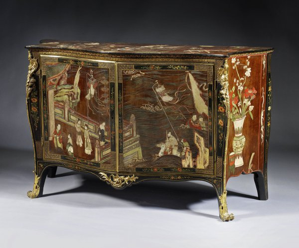 A George III Coromandel lacquer, gilt-brass-mounted serpentine commode, attributed to Pierre Langlois