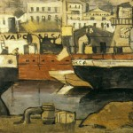 Joaquín Torres-García, Puerto de Barcelona, 1918, oil on cardboard, 20 1⁄2 x 28 3⁄4 inches;
