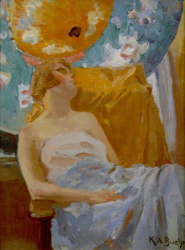 Karl A. Buehr, Woman With Parasols, circa 1914