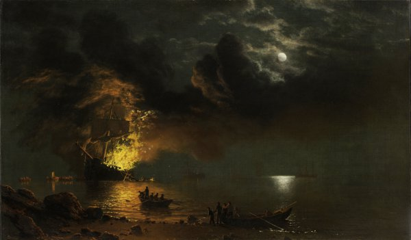 Albert Bierstadt, The Burning Ship, 1871