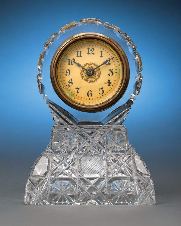 American brilliant cut glass clock by Bergen