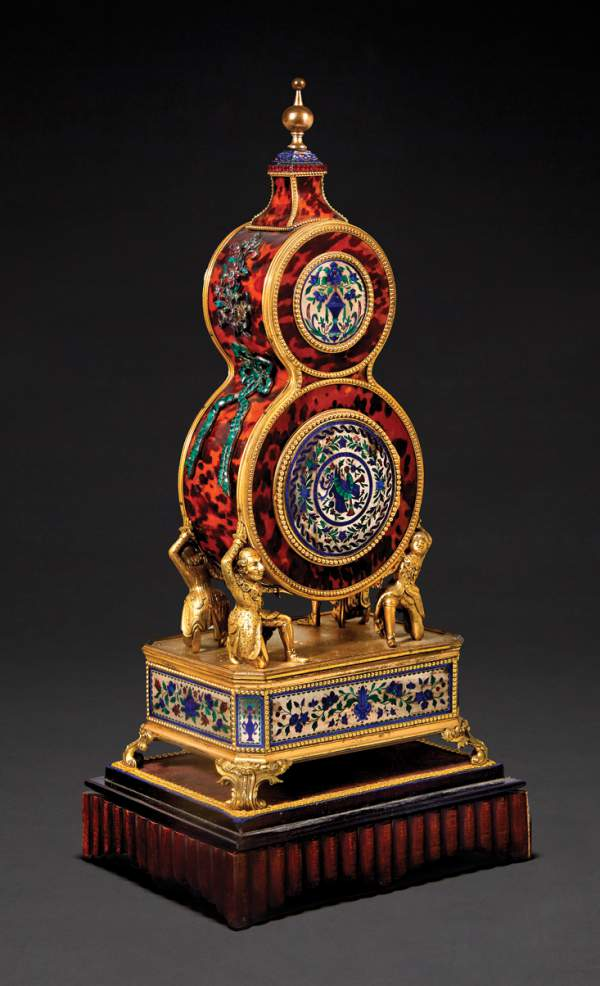 Chinese tribute clock in the form of a double gourd