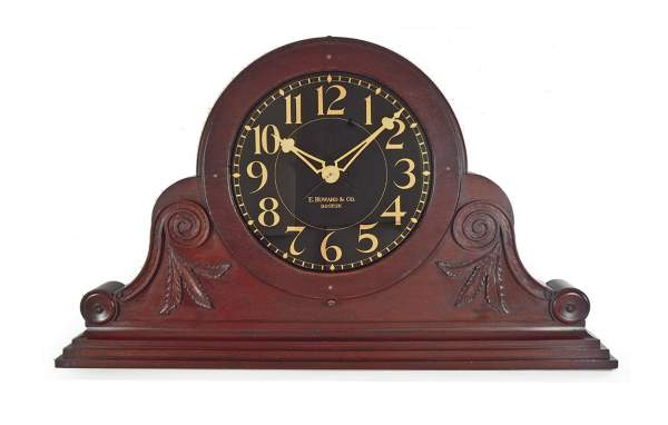Mahogany tambour shelf clock