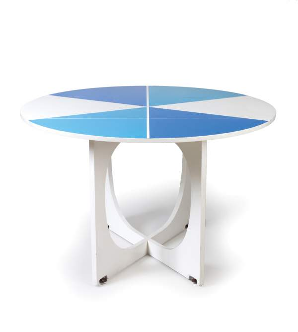 "Giò Ponti, lacquered circular drop-leaf ""APTA"" table with painted geometric designs"