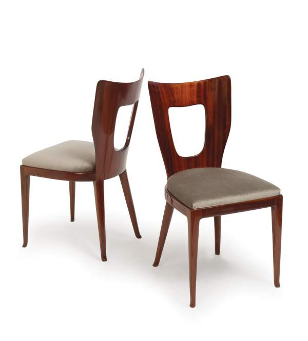 "Osvaldo Borsani, two of a set of eight ""Triennale"" dining chairs"