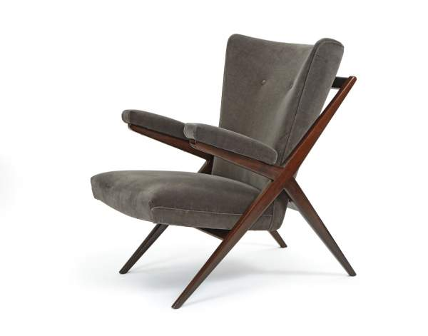 One of a pair of lounge chairs by Franco Albini, Cassina