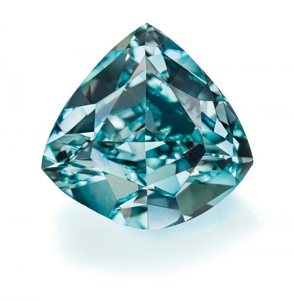 """Ocean Dream,"" fancy vivid blue-green triangular cut diamond, 5.50 carats."