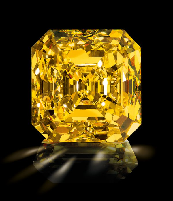 The Delaire Sunrise, a yellow diamond, in finished form.