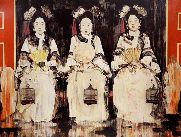 Hung Liu, Three Fujins, 1995