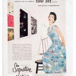 Signature Fabrics advertisement showing Vogue dress pattern