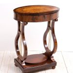 Biedermeier sewing table with lyre base