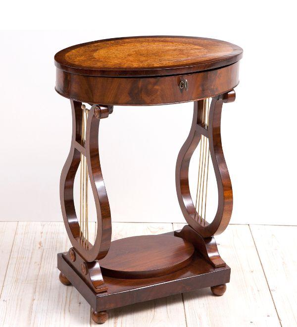 Biedermeier sewing table with lyre base
