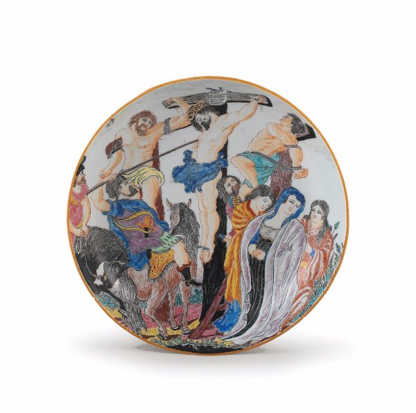 Dish with Crucifixion, Qing dynasty